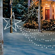 lighted outdoor christmas decorations in Yard, Garden