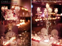 Brand-new, STUNNING crystal candelabras. Add flowers and candelight to make this centerpiece sparkle.