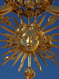"""King Louis  XIV was nicknamed """"The Sun King."""" His face as the Sun King is on Versailles."""