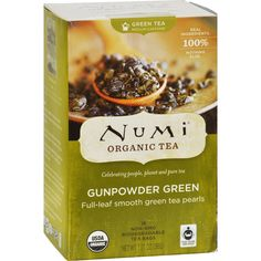 Numi Gunpowder Green Tea - 18 Tea Bags - Case of 6 - Numi Gunpowder Green Tea Description: Medium Caffeine Real Ingredients 100% Nothing Else Celebrating people, planet and pure tea Full-leaf smooth green tea pearls USDA Organic Non-GMO Biodegradable Tea Bags Fair Trade Certified Tea This organic green tea is harvested by the Tuija people of Enshi, China. Since becoming Fair Trade in 2006, they have built new roads and a hospital, while their wages have increased.GUNPOWDER GREENWithin hours…