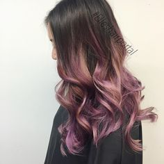 Why not blend the top two hair colors of the season? Lavender ombre with slices of rose gold. Love this unique hair color acheived with #AvedaColor.