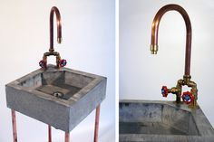 Concrete sink with copper tap & copper heater | Jan Jongejans
