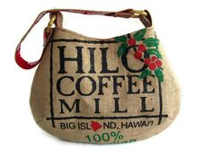 Repurposed Burlap Hilo Coffee Mill Bag with Aloha by ManilaExtract, $80.00