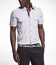 Striped fitted short sleeve military shirt by Express.com