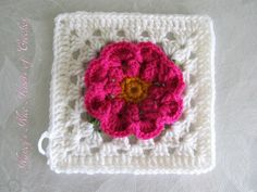 """Nancy's Nice Knots of Crochet (https://www.facebook.com/pages/Nancys-Nice-Knots-of-Crochet/220643178091788):  Adapted from the """"Granny Square In Bloom"""" pattern. I did 3 rounds from that pattern, omitted the 4th round, and then changed the following rounds, and added a 9th round. I made my flowers all one color instead of two colors. http://www.crochetime.net/2013/08/04/granny-square-in-bloom-pattern/"""