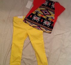 NWT Toddler Girls outfit: 3T Joes Skinny Jeans & Freckles+Kitty Aztek Top 3T!! Retails 80. Sale for $64.99