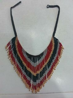 Fringe Necklace, Seed Bead Necklace, Seed Bead Jewelry, Diy Necklace, Beaded Jewelry, Necklaces, Loom Patterns, Beading Patterns, Native American Beading
