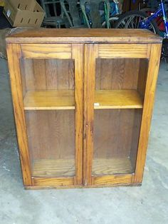 Antique Oak or Chestnut 2 Glass Door Small Dovetailed Cabinet