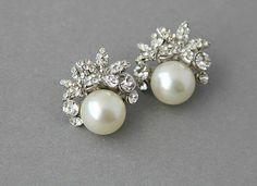 Bridal stud earrings Crystal pearl wedding by LavenderByJurgita, $44.00