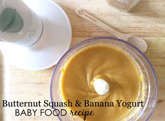 Squash and Banana Yogurt Baby Food Recipe - we love the idea of mixing veggies into yogurt!