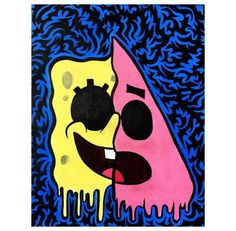 Easy Canvas Art, Simple Canvas Paintings, Small Canvas Art, Cute Paintings, Mini Canvas Art, Artwork Paintings, Spongebob Painting, Cartoon Painting, Hippie Painting