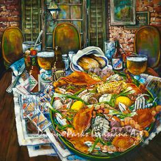 """""""Hot Boiled Crabs"""" by Dianne Parks - a great restaurant scene from New Orleans Louisiana Seafood, Louisiana Art, Tabasco Hot Sauce, Crab Painting, Crab Art, New Orleans Art, New Orleans French Quarter, Thing 1, Southern Charm"""