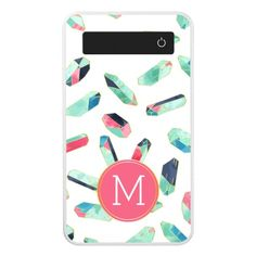Watercolor Pattern with Pink Monogram