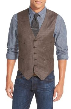 Todd Snyder White Label Trim Fit Check Wool Vest available at #Nordstrom