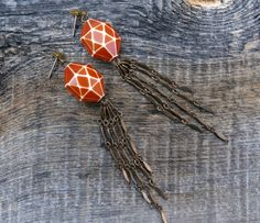 So 70's - swoon  burnt orange geometric dangle earrings