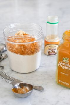 DIY lulur scrub - rice flour, ginger, turmeric, and yogurt, for exfoliating and moisturizing