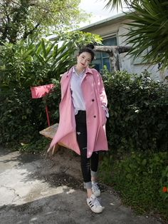 10's trendy style maker 66girls.us! Polyester Double-Breasted Coat (DFXX) #66girls #kstyle #kfashion #koreanfashion #girlsfashion #teenagegirls #fashionablegirls #dailyoutfit #trendylook #globalshopping
