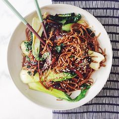 lunch today! vegan bok choy noodle bowl with some kale for good measure! From the Instagram of Sarah Yates / A House in the Hills