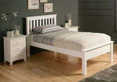 Shaker Solo White Wooden Bed Frame LFE - Single Bed Frame Only