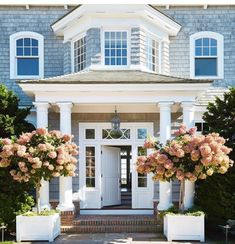 dried hydrangea framing house entryway