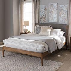 d5eec285b203a Carson Carrington Forshaga Mid-Century Fabric Upholstered and Medium Brown  Wood Platform Bed - Free