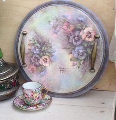 Купить Поднос для завтрака Акварельные незабудки - комбинированный, сиреневый розовый, нежность романтика, кантри прованс