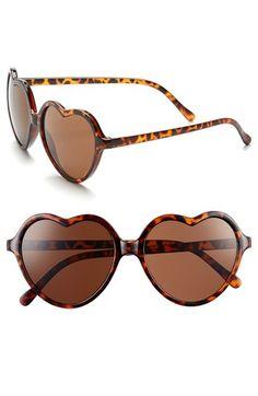 'Luv' Tortoiseshell Heart Sunglasses (Juniors)