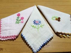 Crochet edged embroidered hankies by Simply Handmade by Shanaz