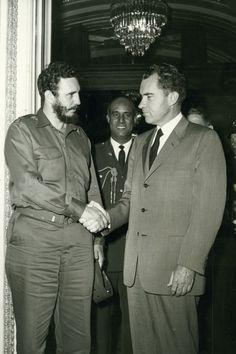 Cuban president Fidel Castro and US vice president Richard Nixon, Washington, DC, April 21, 1959.