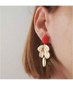 Pendientes Lily Coral Coral, Color Dorado, Drop Earrings, Jewelry, Fashion, Natural Stones, Crystals, Necklaces, Jewellery Making