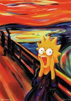 Krzyk - the Scream - Edvard Munch: Lisa Simpson parody Edvard Munch, Lisa Simpson, Le Cri Munch, Scream Parody, Sally Nightmare Before Christmas, Simpsons Art, Famous Artwork, Art Plastique, Oeuvre D'art