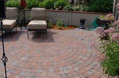 Dublin cobble patio with circular pattern. #TopekaLandscape