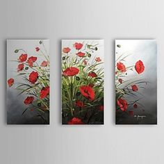 Hand Painted Oil Painting Floral Red Popies Set of 3 with Stretched Frame 1307-FL0186 - WallArtBox