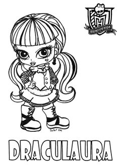 Baby Draculaura printable coloring sheet from JadeDragonne at Deviant Art