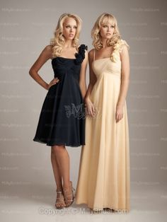 A-line One Shoulder Black Chiffon Ruche Knee-length Bridesmaid Dress at Millybridal.com