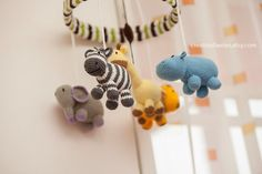 Jungle set (3 items): jungle baby mobile + rattle giraffe + nursery ART by creationfaeries, $260.00
