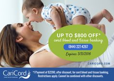 Save on cord blood banking at caricord.com (844) 227-4267.