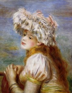 Girl in a Lace Hat, 1891. Private Collection - Pierre-Auguste Renoir
