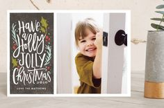 """holly jolly cheer"" - Flora & Fauna, Bold typographic Holiday Petite Cards in graphite by Karidy Walker."