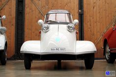 ~ The Messerschmitt KR200, or Kabinenroller (Cabin Scooter), was a three-wheeled bubble car designed by the aircraft engineer Fritz Fend and produced in the factory of the German aircraft manufacturer Messerschmitt from 1955 to 1964. (Source: Wikipedia)