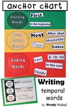 6647c66a1a429 Grab these temporal word  amp  transition word anchor charts for your First  Grade and Second