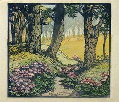 Frances Gearhart (American, 1869-1958). A Blossomy Way. ca. 1930. Woodblock print.