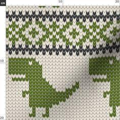 Dinosaur Pixelated Fabric - Dino Fair Isle - Green (Large Scale) By Littlearrowdesign - Dinosaur Cot Double Gauze Fabric, Cotton Twill Fabric, Fleece Fabric, Knitting Charts, Baby Knitting, Knitting Patterns, Mittens, Mitten Gloves, Fair Isle Chart