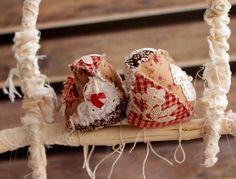 Birds on Perch Christmas decorations ornament with SWAROVSKI heart. XMAS & Holiday decor, Christmas tree bird ornament gift ideas love birds