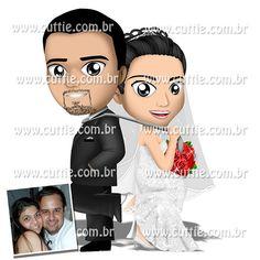 Caricatura para casamento - Noivos Adriana e João - noivinhos cuttie