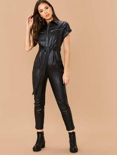 Zip Front Roll Up Sleeve Self Belted Faux Leather Jumpsuit Leggings Mode, Leggings Fashion, Rompers Women, Jumpsuits For Women, Leather Jumpsuit, Leder Outfits, Plastic Pants, Roll Up Sleeves, Batwing Sleeve