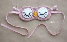 Crochet sleepy owl mask.