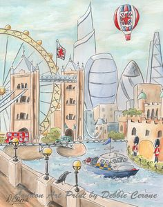 London Skyline Travel Themed London Decor Red Blue British