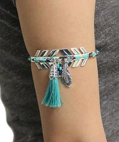This Turquoise Chevron Tassel Arm Cuff is perfect! #zulilyfinds