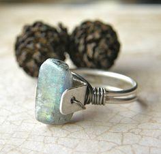 Labradorite Metalsmith Ring Rustic Rough Cut by RachelUngerJewelry, $80.00